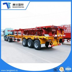 3 Axle Skeletal or Skeleton 2*20FT and 40FT Common Low Bed Semi Trailer, Trailer Dimensions and Truc