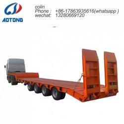 3 Axles 60tons Low Flat Bed Truck Trailer for Sale