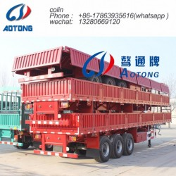 3 Axles 40FT Side Wall Flatbed Container Semi Trailer