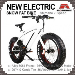 E-Bicycle 26*4.0 Tire Electric Bicycle Fat Beach Cruiser Bike 7 Speed Alloy Frame