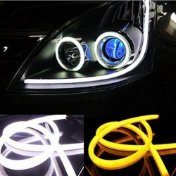 2 X 60cm Flexible LED DRL Dual Flexible Soft Guide DRL Daytime Running Light Cool White DRL Amber Tu
