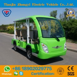 Zhongyi 8 Person Enclosed off Road Battery Powered Classic Shuttle Sightseeing Electric Bus with Ce
