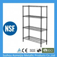 Ce ISO SGS Approved 4 Tier Black Heavy Duty Wire Display Rack