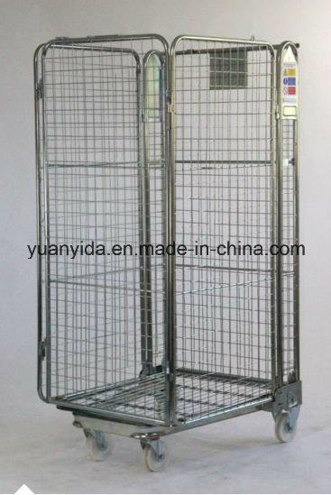 4-Sided Warehouse Folding Wire Mesh Roll Containers/Roll Pallet/Hand Trolley Image1