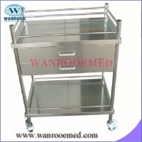 Bss200d2 Stainless Steel Hospital Instrument Trolley (with double drawer)