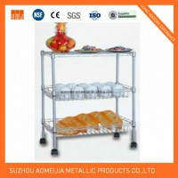 3 Tier Display Wire Shelving Trolley for Kitchen Use