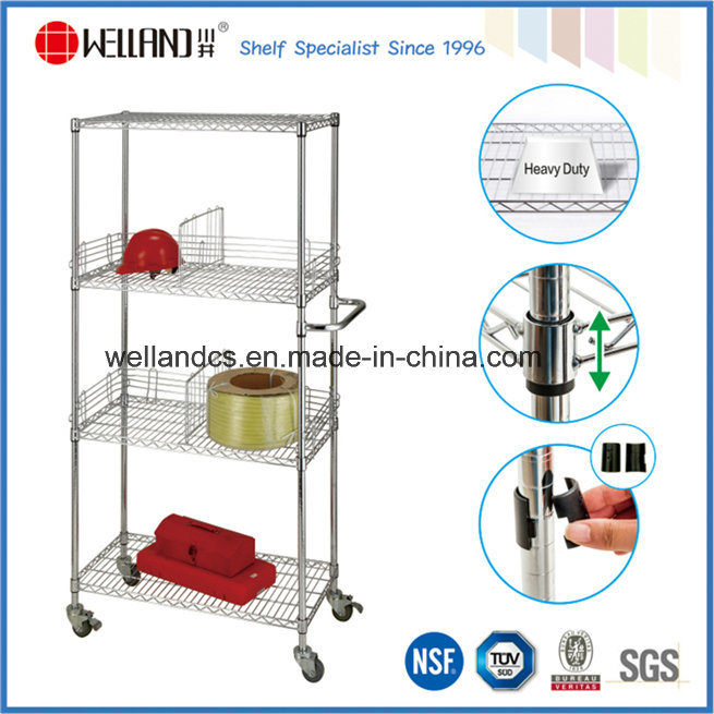 NSF Chrome Metal Bin Wire Storage Cart for Store/Warehouse Image1