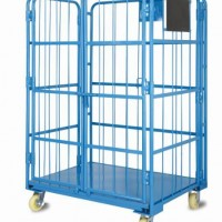 Warehouse Wire Mesh Rolling Metal Storage Roll Cage Trolley Cart with Doors