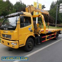 Dongfeng Light Duty Multi Function Flatbed Tow Truck Mounted Telescopic Crane